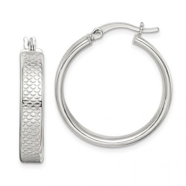 Quality Gold  Sterling Silver Rhodium-plated Hoop Earrings
