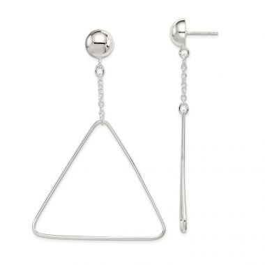 Quality Gold Sterling Silver Triangle Dangle Post Earrings