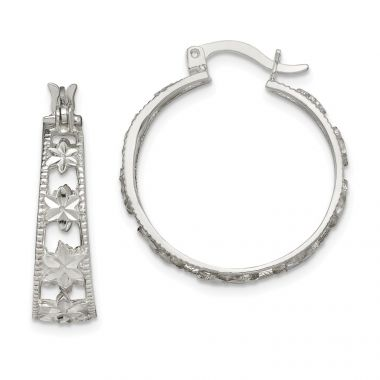 Quality Gold Sterling Silver Diamond-cut Flower Hoop Earrings