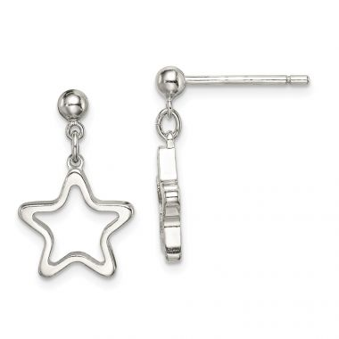 Quality Gold Sterling Silver Cut-out Star Dangle Post Earrings