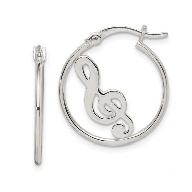 Quality Gold Sterling Silver Polished Music Knot Hoop Earrings