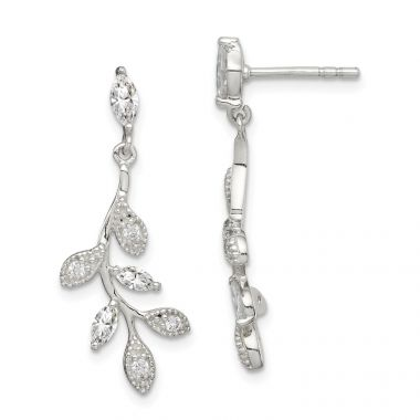 Quality Gold Sterling Silver CZ Branch & Leaves Dangle Earrings