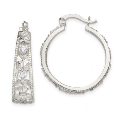 Quality Gold Sterling Silver CZ Diamond-cut Heart Hoop Earrings