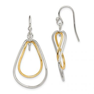 Quality Gold Sterling Silver & Gold Tone Polished Dangle Earrings