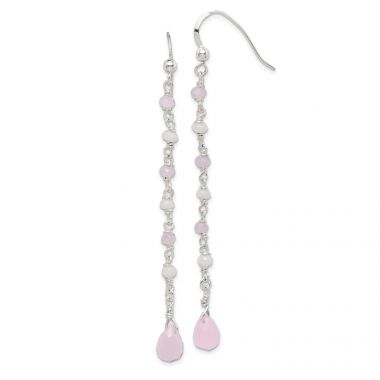 Quality Gold Sterling Silver Pink and White Glass Dangle Earrings