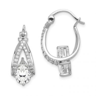 Quality Gold Sterling Silver Rhodium-plated Pear CZ Hoop Earrings