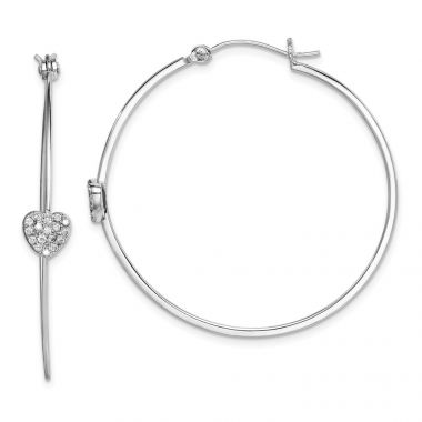Quality Gold Sterling Silver Rhodium-plated CZ Heart Hoop Earrings