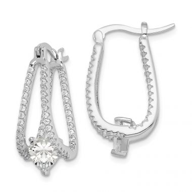Quality Gold Sterling Silver Rhodium-plated Heart CZ Hoop Earrings