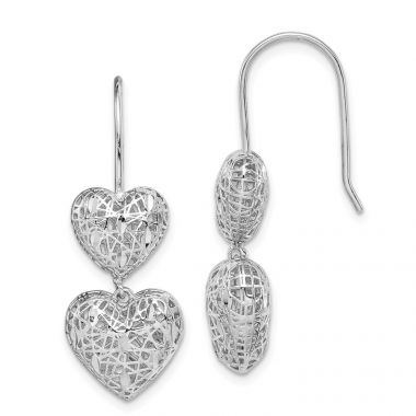 Quality Gold Sterling Silver Rhodium-plated Hearts Dangle Earrings