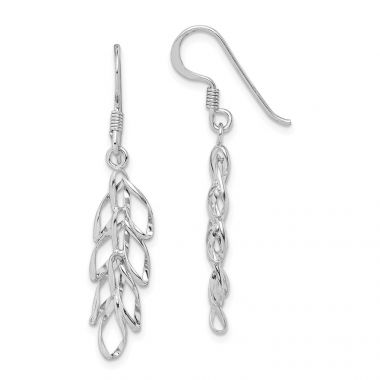 Quality Gold Sterling Silver Rhodium-plated Leaves Dangle Earrings