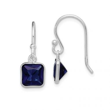 Quality Gold Sterling Silver Rhodium Plated Blue CZ Dangle Earrings