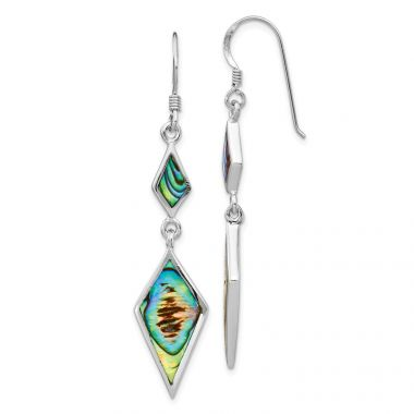 Quality Gold Sterling Silver Rhodium-plated Abalone Dangle Earrings