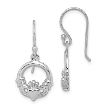 Quality Gold Sterling Silver Rhodium Plated Claddagh Dangle Earrings