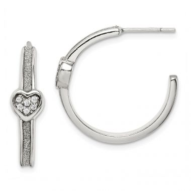 Quality Gold Sterling Silver Glitter Infused & CZ Heart Hoop Earrings