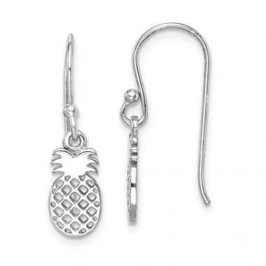 Quality Gold Sterling Silver Rhodium-plated Pineapple Dangle Earring