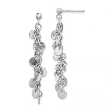 Quality Gold Sterling Silver Rhodium-plated Circle Dangle Post Earring