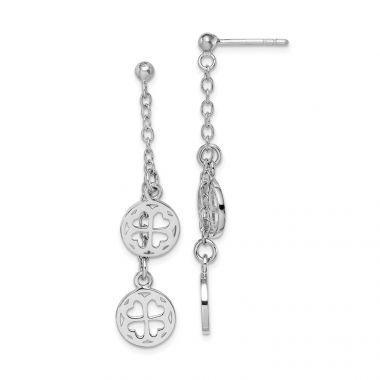 Quality Gold Sterling Silver Rhodium-plated Clover Dangle Post Earring