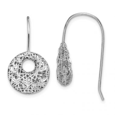Quality Gold Sterling Silver Rhodium-plated  Circles Dangle Earrings
