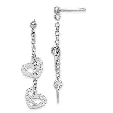Quality Gold Sterling Silver Rhodium-plated Hearts Dangle Post Earring