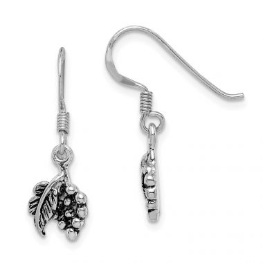 Quality Gold Sterling Silver Rhodium-plated Antiqued Grape Bundle Dangle Earring