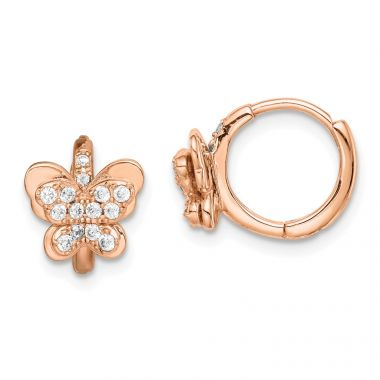 Quality Gold Sterling Silver Rose-tone CZ Butterfly Hinged Hoop Earrings