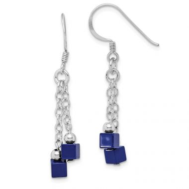 Quality Gold Sterling Silver Rhodium-plated Created Lapis Dangle Earrings