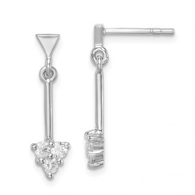 Quality Gold Sterling Silver Rhodium-plated CZ Arrow Dangle Post Earrings