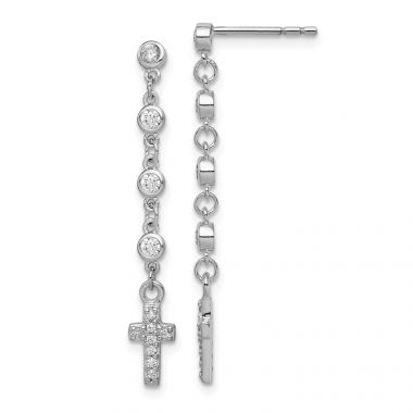 Quality Gold Sterling Silver Rhodium-plated CZ Cross Dangle Post Earrings