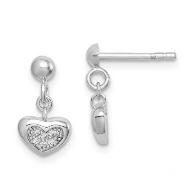 Quality Gold Sterling Silver Rhodium-plated CZ Heart Dangle Post Earrings