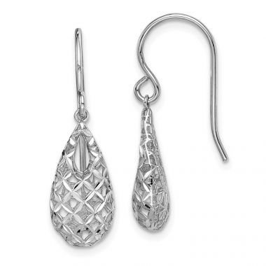 Quality Gold Sterling Silver Rhodium-plated  Tear Drop Dangle Earrings