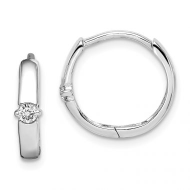 Quality Gold Sterling Silver Rhodium-plated CZ 3x14mm Hinged Hoop Earrings