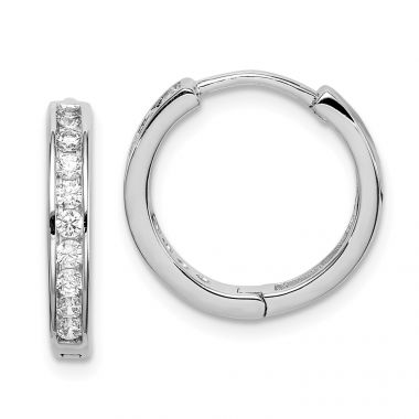 Quality Gold Sterling Silver Rhodium-plated CZ 3x16mm Hinged Hoop Earrings