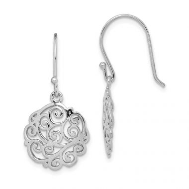 Quality Gold Sterling Silver Rhodium-plated Filigree Circle Dangle Earrings