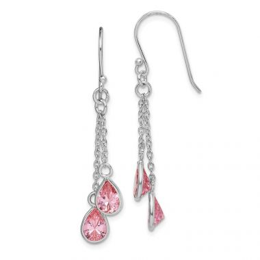 Quality Gold Sterling Silver Rhodium-plated Pink CZ Teardrop Dangle Earrings