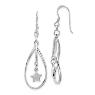 Quality Gold Sterling Silver Rhodium-plated Star Inside Oval Dangle Earring