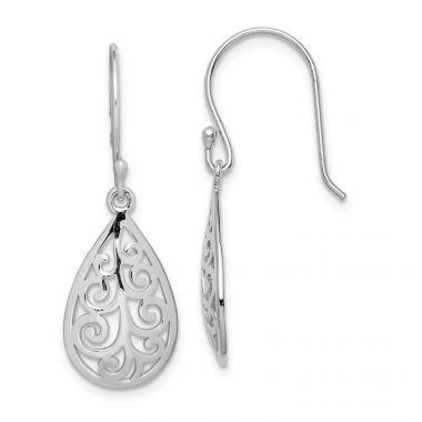 Quality Gold Sterling Silver Rhodium-plated Filigree Teardrop Dangle Earrings