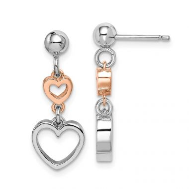 Quality Gold Sterling Silver Rhodium &Rose-tone Heart Dangle Earrings