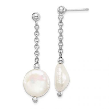 Quality Gold Sterling Silver Rhod-plated 12-13 Coin FWC Pearl Dangle Earrings
