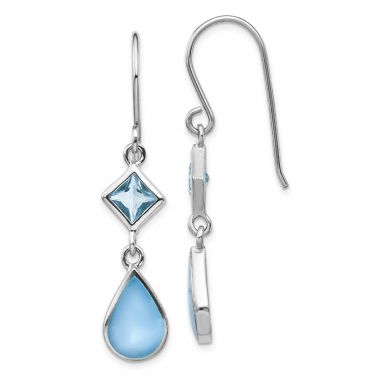 Quality Gold Sterling Silver Rhodium-plated Blue CZ & Blue MOP Dangle Earring