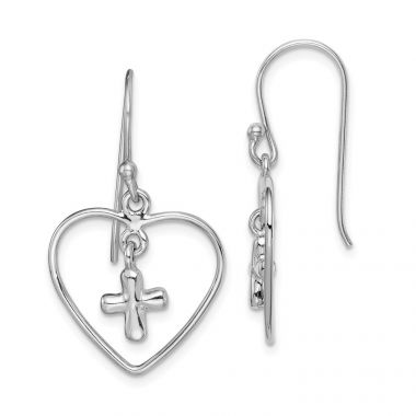 Quality Gold Sterling Silver Rhodium-plated Cross Inside Heart Dangle Earring