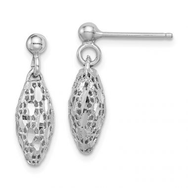 Quality Gold Sterling Silver Rhodium-plated  Mesh Oval Dangle Post Earrings
