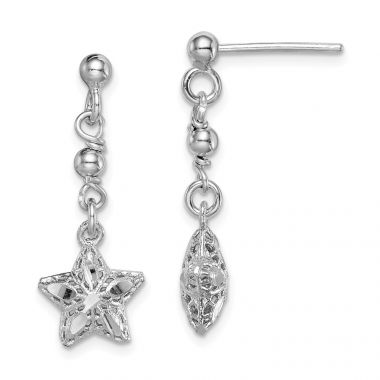 Quality Gold Sterling Silver Rhodium-plated  Mesh Star Dangle Post Earrings
