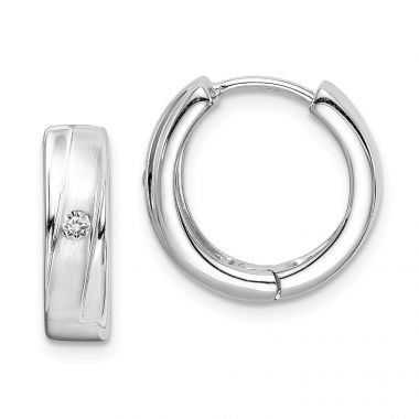 Quality Gold Sterling Silver Rhodium Plated Brushed & Polished CZ Hoop Earrings