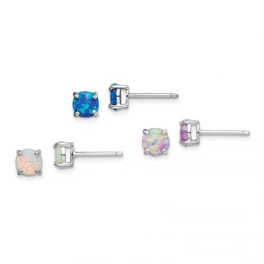Quality Gold Sterling Silver Rhodium-plated Created Opal Set of 3 Stud Earrings