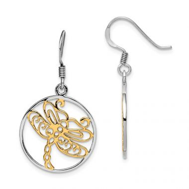 Quality Gold Sterling Silver Rhodium-plated Gold Tone Dragonfly Dangle Earring