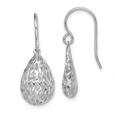 Quality Gold Sterling Silver Rhodium-plated  Hollow Tear Drop Dangle Earrings