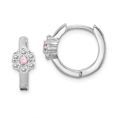 Quality Gold Sterling Silver Rhodium-plated Pink & White CZ Flower Hoop Earrings