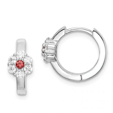 Quality Gold Sterling Silver Rhodium-plated Red & White CZ Flower  Hoop Earrings