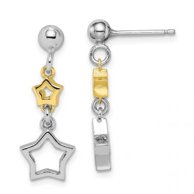 Quality Gold Sterling Silver Rhodium-plated with Yellow Tone Star Dangle Earrings