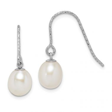 Quality Gold Sterling Silver Rhod-plat 6-7mm White Rice FWC Pearl Dangle Earrings